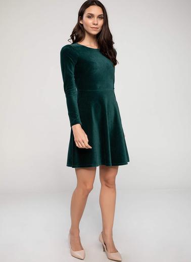 DeFacto Kolları İnci Detaylı Slim Fit Elbise Yeşil